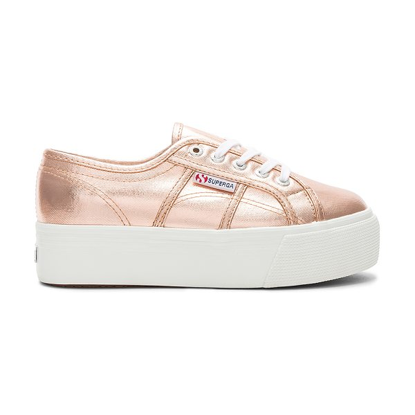 "SUPERGA 2790 Metallic Platform Sneaker - ""Metallic coated canvas upper with rubber sole. Lace-up..."