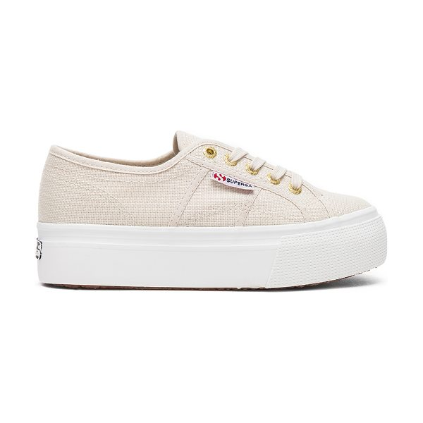 """Superga 2790 Sneaker in beige - """"Canvas upper with rubber sole. Lace-up front. Platform..."""