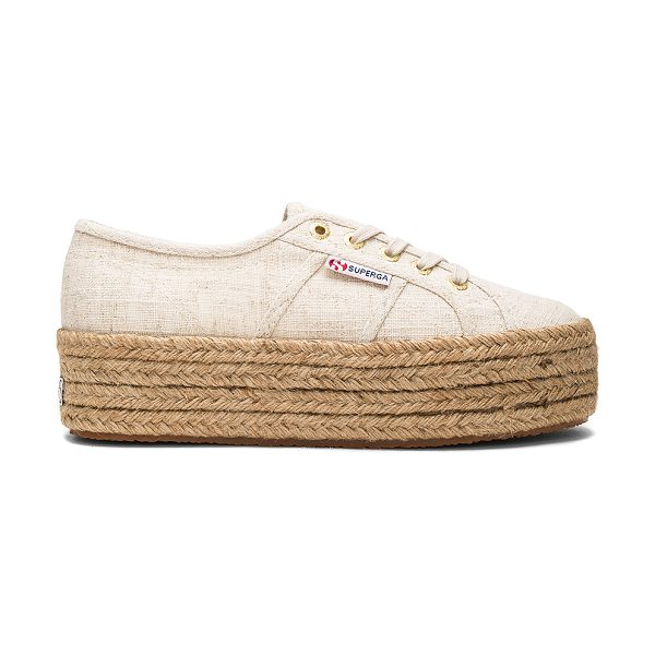 Superga 2790 Sneaker in natural linen - Canvas upper with rubber sole. Lace-up front. Jute trim....
