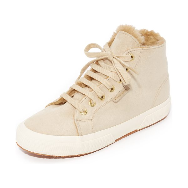 Superga 2795 sherpa lined high top sneakers in natural - Sherpa lining adds a cozy touch to these faux-suede...