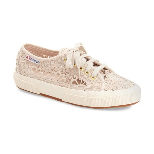 SUPERGA 'cot' macrame sneaker in beige - A lacy macrame upper lends a touch of floral sweetness...