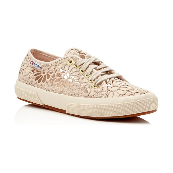 Superga Cotropew Crochet Lace Up Sneakers in beige - Superga Cotropew Crochet Lace Up Sneakers-Shoes