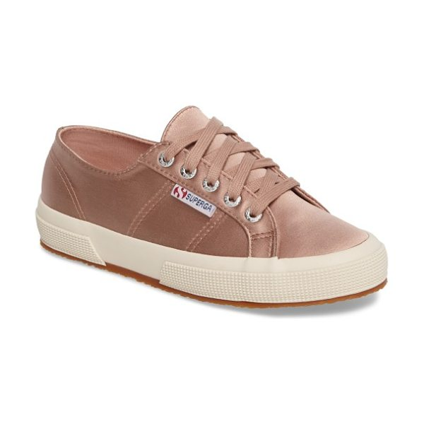 Superga satin sneaker in blush - Clean-lined and classic, this rubber-soled sneaker from...