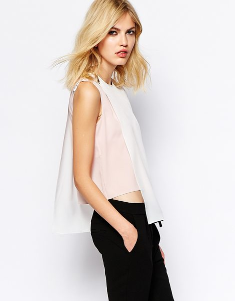 Supertrash Sleeveless top with overlay in cloudpowder - Top by SuperTrash Lightweight, semi-sheer chiffon Crew...