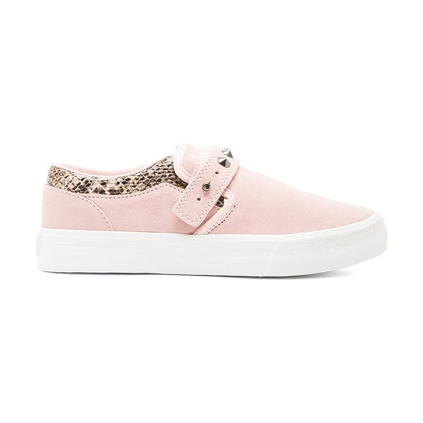 Supra X elyse walker cuba slip on in pink - Snake embossed leather and suede upper with rubber sole....