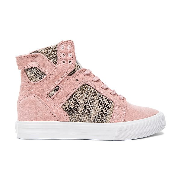 Supra X elyse walker skytop wedge sneaker in pink - Snake embossed leather and suede upper with rubber sole....