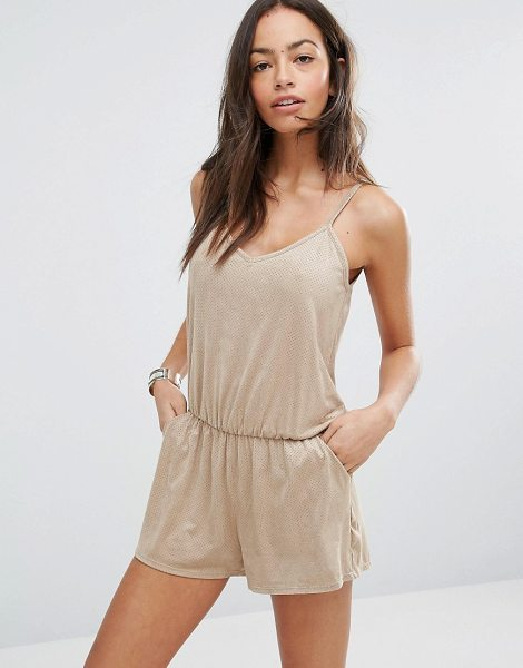 Surf Gypsy faux suede beach romper in tan - Beach romper by Surf Gypsy, Faux suede, V-neckline,...