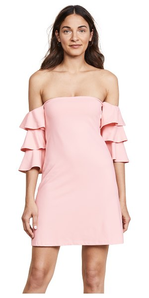 Susana Monaco off the shoulder dress in pink sand - Fabric: Mid-weight jersey Ruffled sleeves Mini dress cut...