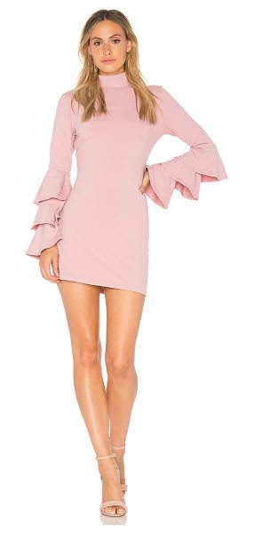 Susana Monaco Layered Ruffle Sleeve Dress in pink - 86% nylon 16% lycra. Unlined. Mock neckline. Tiered...