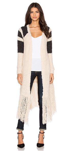 SUSS Whitney fringe cardigan in tan - 72% acrylic 12% wool. Dry clean only. Open front. Slit...