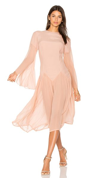 SWF Anna Dress in soft blush - 100% rayon. Hand wash cold. Unlined. Flared sleeves....