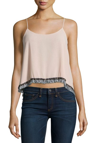 T-bags Los Angeles Fringe-Trimmed Tank Top in dusty rose
