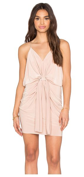 T-bags Los Angeles Domino Tie Front Micro Mini Dress in tan - 96% poly 4% spandex. Dry clean only. Unlined. Draped...