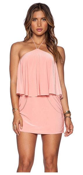 T-bags Los Angeles Halter mini dress in blush - 96% poly 4% spandex. Dry clean only. Neckline to hem...