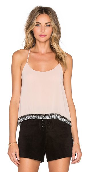 T-bags Los Angeles Scoop Neck Tank in rose - Poly blend. Hand wash cold. Fringe hem with chain link...