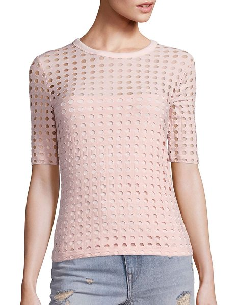 T by Alexander Wang circular hole jacquard short sleeve tee in blush - Circular hole patterns complete this edgy tee. Banded...