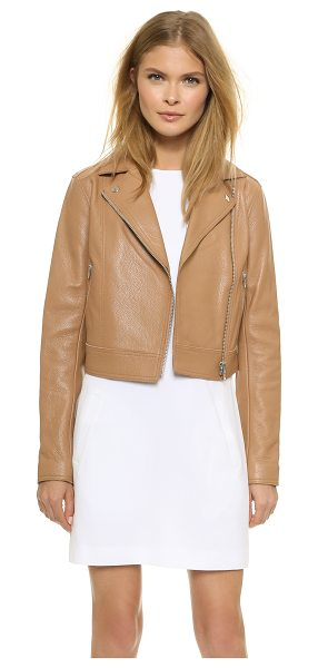T BY ALEXANDER WANG Classic moto jacket - Pebbled leather elevates this cropped T by Alexander...
