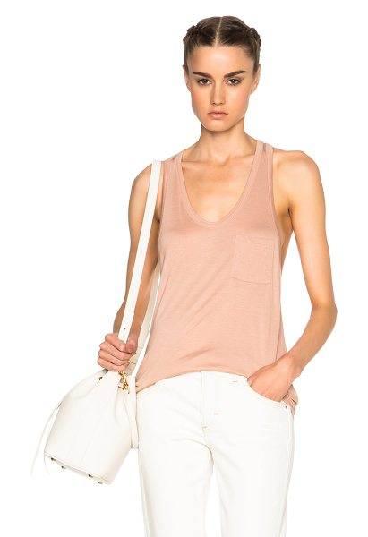 T BY ALEXANDER WANG Classic pocket tank top - 100% rayon.  Made in Vietnam.  Breast pocket.