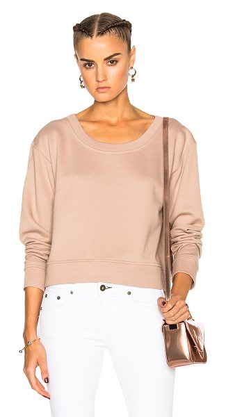 T by Alexander Wang Cropped Sweatshirt in sandstone - Self: 69% cotton 17% poly 14% modalRib: 60% cotton 40%...
