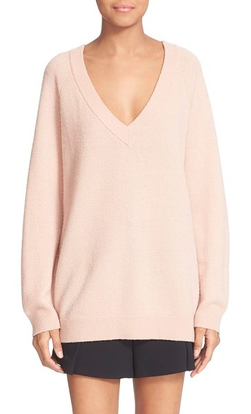 T by Alexander Wang deep v neck wool & cashmere sweater in peach - A deep V neckline adds a sultry touch to a beautifully...
