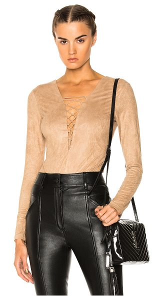 T by Alexander Wang Faux Suede Lace Up Bodysuit in neutrals - Self & Lining: 88% poly 12% elastan.  Made in China. ...