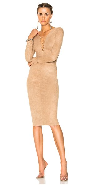 T BY ALEXANDER WANG Faux Suede Lace up Mini Dress - Self & Lining: 88% poly 12% elastan.  Made in China. ...