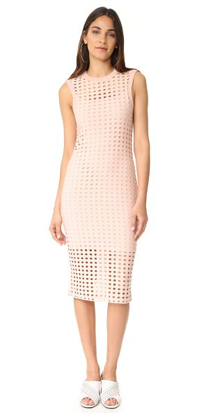 T by Alexander Wang fitted tank dress in blush - Dropped stitches create a hole-punch effect on this...