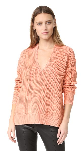 T by Alexander Wang half cardigan v neck pullover in salmon - This chunky shaker-knit T by Alexander Wang sweater has...