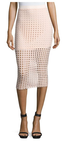 T by Alexander Wang Jacquard Eyelet Midi Skirt in blush - T by Alexander Wang midi skirt in jacquard eyelet knit....