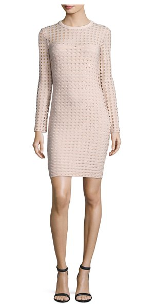 T by Alexander Wang Long-Sleeve Jacquard Eyelet Mini Dress in blush - T by Alexander Wang mini dress in jacquard eyelet knit....