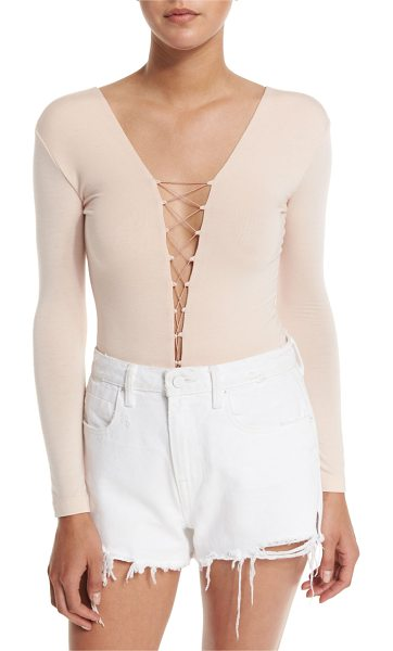 T BY ALEXANDER WANG Long-Sleeve Laced Bodysuit in blush - T by Alexander Wang bodysuit in stretch jersey. Laced,...
