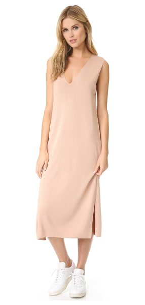 T by Alexander Wang Milano knit deep v dress in blush - A simple T by Alexander Wang sweater dress, styled with...