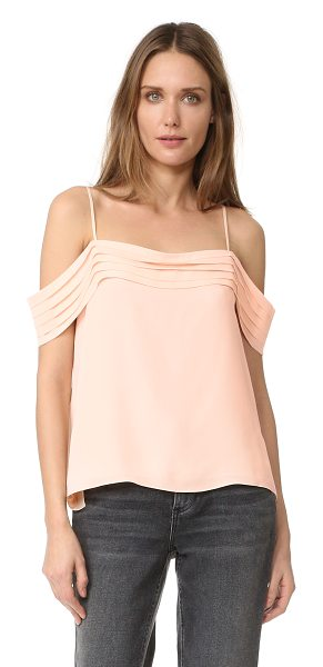 T by Alexander Wang pleated off shoulder silk top in blush
