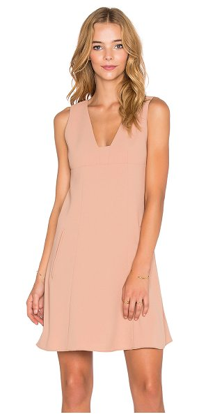 T BY ALEXANDER WANG Plunge Dress in tan - Body & Lining: 100% poly. Dry clean only. Lined. Side...