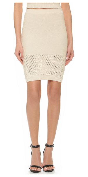 T by Alexander Wang Pointelle intarsia pencil skirt in ecru - A bouclé knit pencil skirt from T by Alexander Wang....