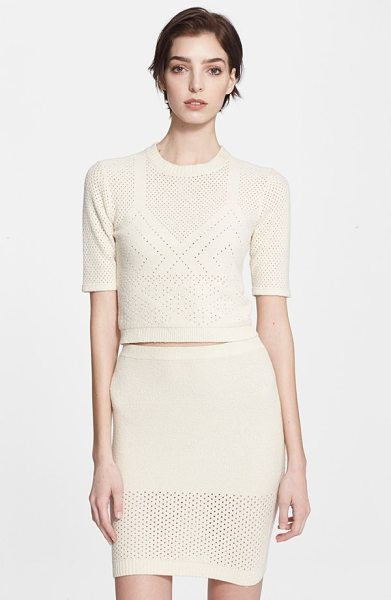 T by Alexander Wang pointelle knit crop top in ecru - Pointelle stitches delicately pattern a fitted and...