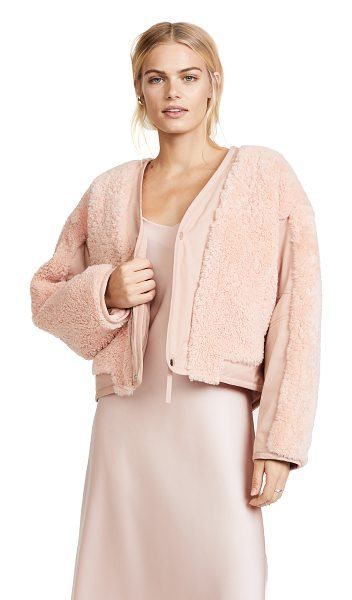 T by Alexander Wang shearling crop jacket in blush - Plush shearling in a pretty pink hue adds a bold texture...