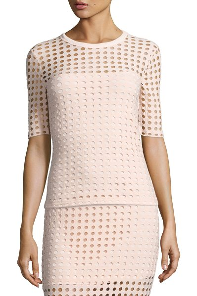 T by Alexander Wang Short-Sleeve Jacquard Eyelet Tee in blush - T by Alexander Wang tee in jacquard eyelet knit. Round...