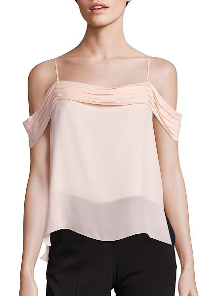 T by Alexander Wang silk georgette pleated off-the shoulder top in blush - Graceful pleats shape this silky off-the-shoulder top....