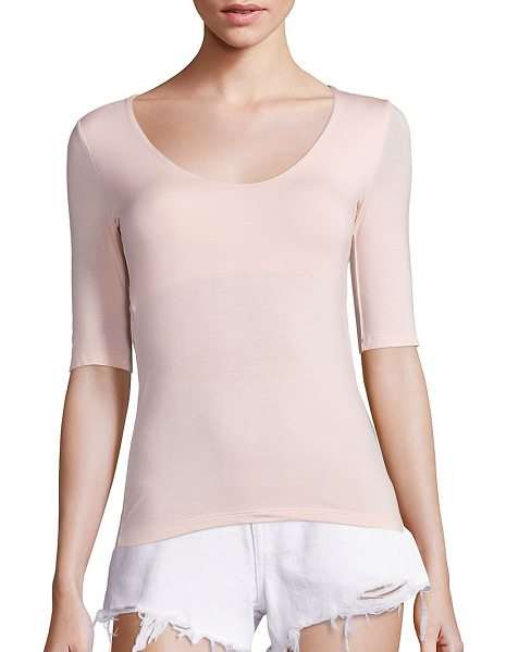 T by Alexander Wang solid back cutout tee in blush - Back cutout detail adds a stylish edge to this tee. Deep...