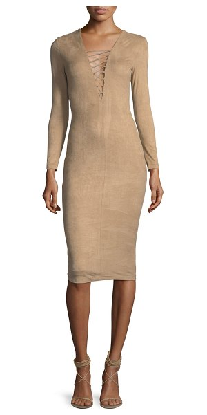 T by Alexander Wang Stretch Faux-Suede Long-Sleeve Lace-Up Midi Dress in camel - T by Alexander Wang dress in stretch faux-suede. Lace-up...