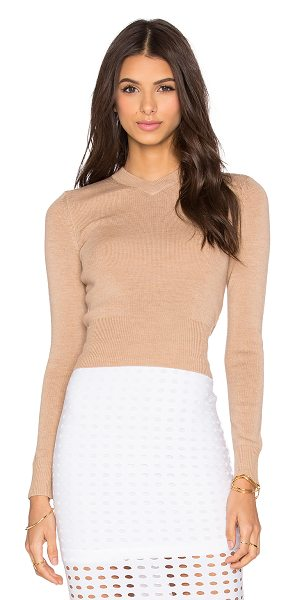 T by Alexander Wang Superfine merina high v neck sweater in tan - 100% merino wool. Dry clean only. Rib knit edges....