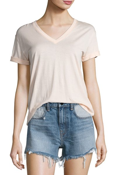 T by Alexander Wang V-Neck Short-Sleeve Superfine Jersey Top in flesh - T by Alexander Wang tee in superfine jersey. V neckline....