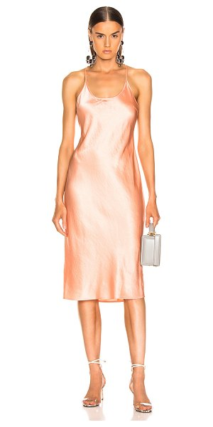 T by Alexander Wang Wash & Go Woven Dress in orange - 86% triacetate 14% poly.  Made in China.  Hand wash.  Unlined.