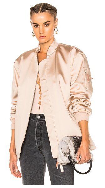 T by Alexander Wang Water Resistant Nylon Bomber in neutrals - Self: 52% acetate 32% poly 14% nylon 2% spandex -...