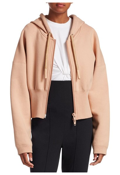 T by Alexander Wang wide banded terry hoodie in apricot - Cozy terry sweatshirt features a zip front and a waist...
