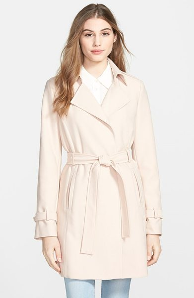 T Tahari daphine belted trench coat in rosewood - A minimum of detailing and a wrap silhouette create...