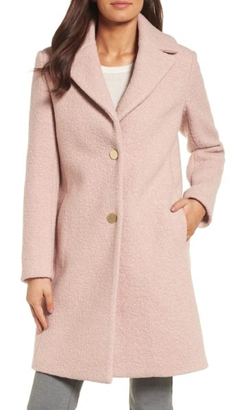 T Tahari 'tessa' boiled wool blend coat in powder pink - Boiled woolen texture adds a cozy tactile element to...