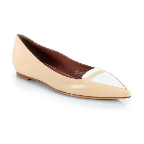 Tabitha Simmons Alexa bicolor patent leather ballet flats in fleshwhite - An elegant point toe updates this casual two-tone...