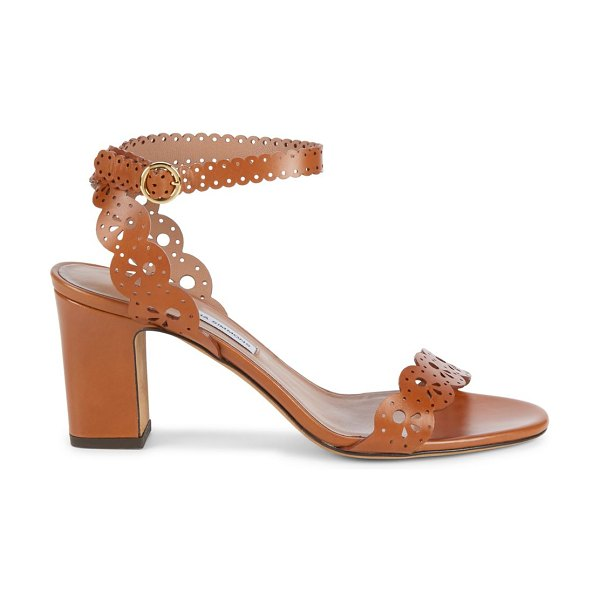 Tabitha Simmons bobbin lasercut leather ankle-strap sandals in cognac
